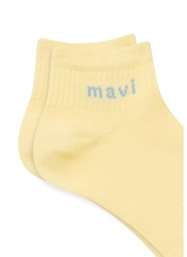 Mavi Mavi Logo Baskılı  Soket Çorap Sarı